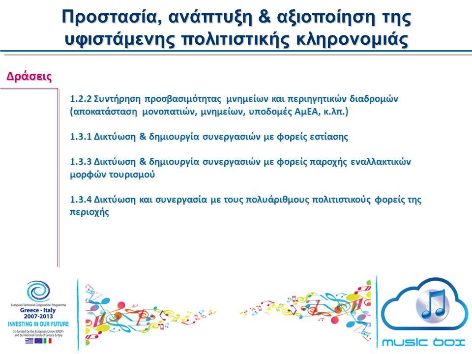 Προστασία, ανάπτυξη & αξιοποίηση της υφιστάμενης πολιτιστικής κληρονομιάς Δράσεις 1.2.2 Συντήρηση προσβασιμότητας μνημείων και περιηγητικών διαδρομών (αποκατάσταση μονοπατιών, μνημείων, υποδομές ΑμΕΑ, κ.λπ.) 1.3.1 Δικτύωση & δημιουργία συνεργασιών με φορείς εστίασης 1.3.3 Δικτύωση & δημιουργία συνεργασιών με φορείς παροχής εναλλακτικών μορφών τουρισμού 1.3.4 Δικτύωση και συνεργασία με τους πολυάριθμους πολιτιστικούς φορείς της περιοχής