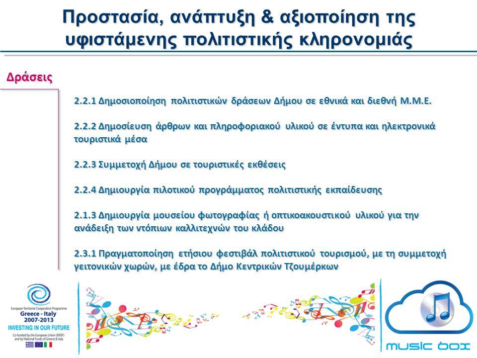 Προστασία, ανάπτυξη & αξιοποίηση της υφιστάμενης πολιτιστικής κληρονομιάς Δράσεις 2.2.1 Δημοσιοποίηση πολιτιστικών δράσεων Δήμου σε εθνικά και διεθνή