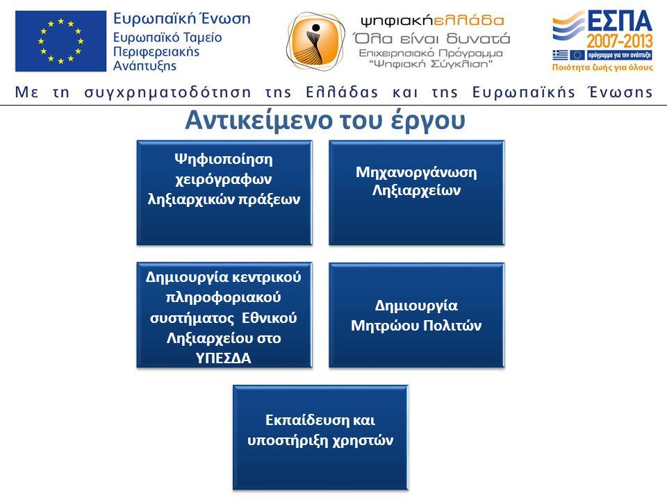 Αντικείμενο του έργου Ψηφιοποίηση χειρόγραφων ληξιαρχικών πράξεων Μηχανοργάνωση Ληξιαρχείων Δημιουργία κεντρικού πληροφοριακού συστήματος Εθνικού Ληξιαρχείου στο ΥΠΕΣΔΑ Δημιουργία Μητρώου Πολιτών Εκπαίδευση και υποστήριξη χρηστών