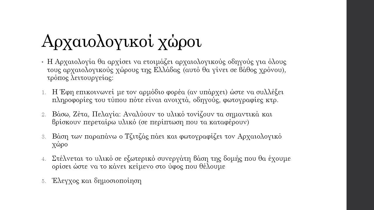 Αρχαιολογικοί χώροι Η Αρχαιολογία θα αρχίσει να ετοιμάζει αρχαιολογικούς οδηγούς για όλους τους αρχαιολογικούς χώρους της Ελλάδας (αυτό θα γίνει σε βάθος χρόνου), τρόπος λειτουργείας: 1.