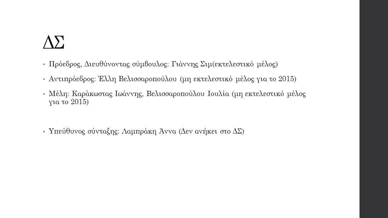 ΔΣ Πρόεδρος, Διευθύνοντας σύμβουλος: Γιάννης Σιμ(εκτελεστικό μέλος) Αντιπρόεδρος: Έλλη Βελισσαροπούλου (μη εκτελεστικό μέλος για το 2015) Μέλη: Καράκωστας Ιωάννης, Βελισσαροπούλου Ιουλία (μη εκτελεστικό μέλος για το 2015) Υπεύθυνος σύνταξης: Λαμπράκη Άννα (Δεν ανήκει στο ΔΣ)