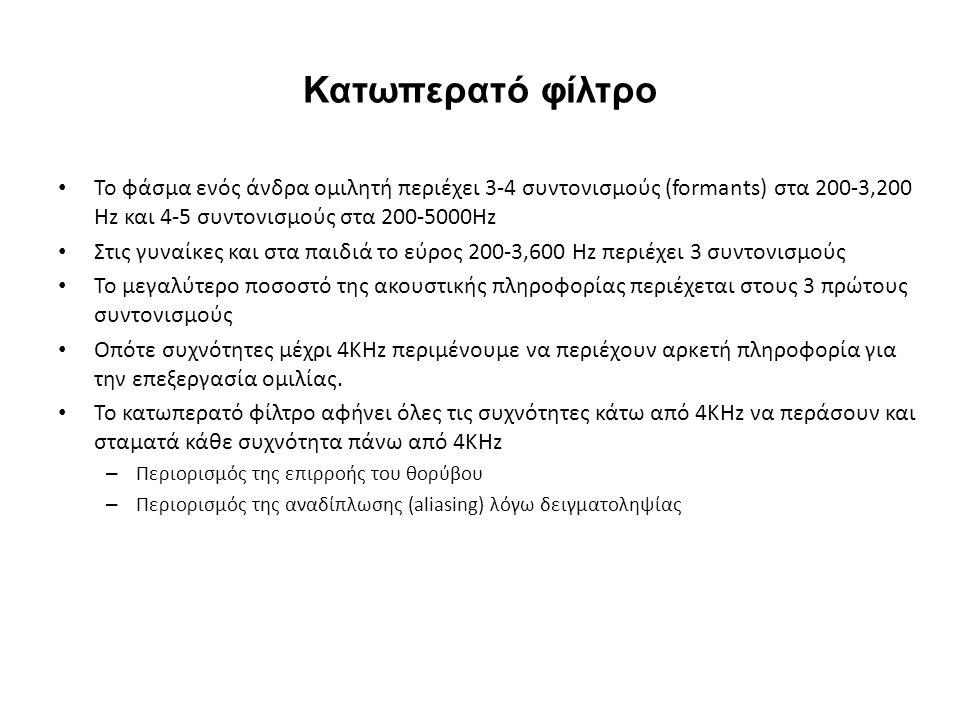 Κατωπερατό φίλτρο Το φάσμα ενός άνδρα ομιλητή περιέχει 3-4 συντονισμούς (formants) στα 200-3,200 Hz και 4-5 συντονισμούς στα 200-5000Hz Στις γυναίκες