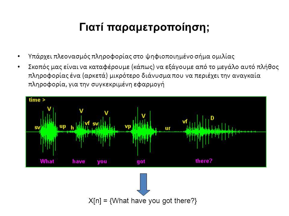 Γιατί παραμετροποίηση; Υπάρχει πλεονασμός πληροφορίας στο ψηφιοποιημένο σήμα ομιλίας Σκοπός μας είναι να καταφέρουμε (κάπως) να εξάγουμε από το μεγάλο αυτό πλήθος πληροφορίας ένα (αρκετά) μικρότερο διάνυσμα που να περιέχει την αναγκαία πληροφορία, για την συγκεκριμένη εφαρμογή X[n] = {What have you got there }