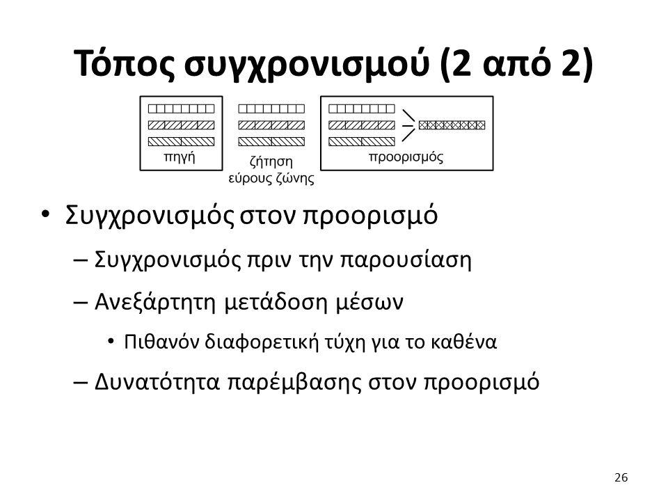 Τόπος συγχρονισμού (2 από 2) Συγχρονισμός στον προορισμό – Συγχρονισμός πριν την παρουσίαση – Ανεξάρτητη μετάδοση μέσων Πιθανόν διαφορετική τύχη για το καθένα – Δυνατότητα παρέμβασης στον προορισμό 26
