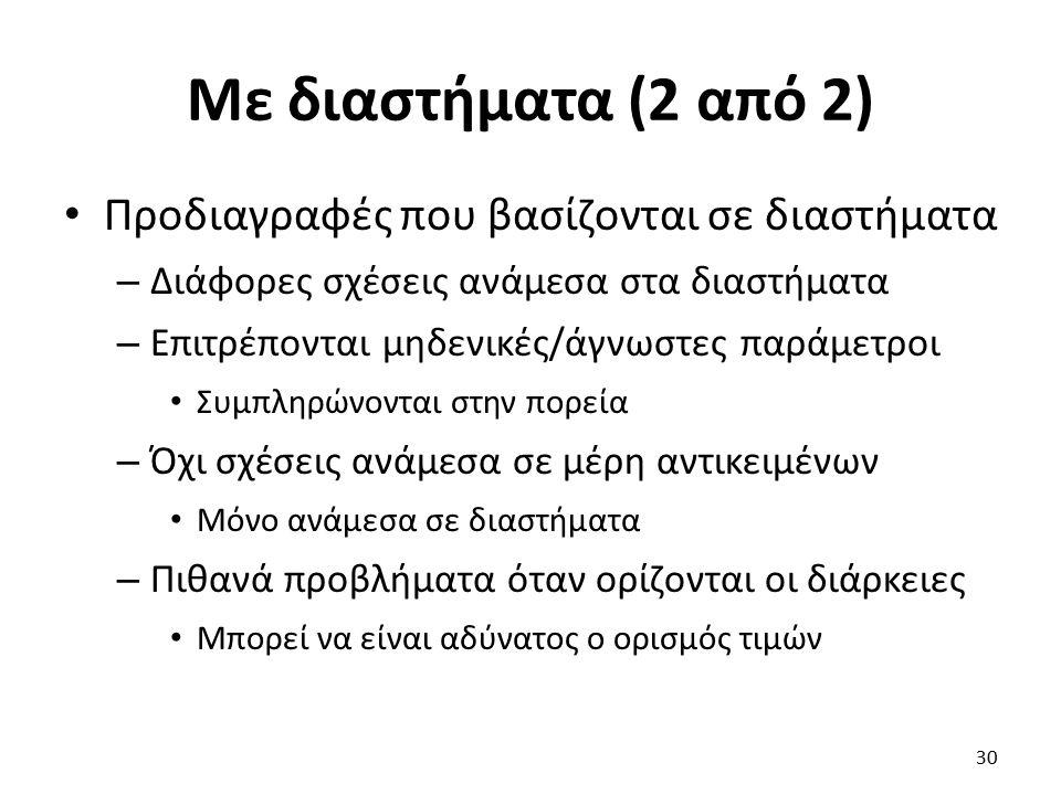 Με διαστήματα (2 από 2) Προδιαγραφές που βασίζονται σε διαστήματα – Διάφορες σχέσεις ανάμεσα στα διαστήματα – Επιτρέπονται μηδενικές/άγνωστες παράμετροι Συμπληρώνονται στην πορεία – Όχι σχέσεις ανάμεσα σε μέρη αντικειμένων Μόνο ανάμεσα σε διαστήματα – Πιθανά προβλήματα όταν ορίζονται οι διάρκειες Μπορεί να είναι αδύνατος ο ορισμός τιμών 30