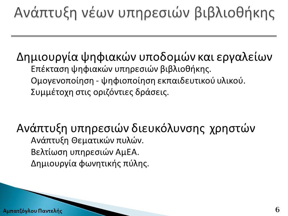 Αμπατζόγλου Παντελής 6 Δημιουργία ψηφιακών υποδομών και εργαλείων Επέκταση ψηφιακών υπηρεσιών βιβλιοθήκης.