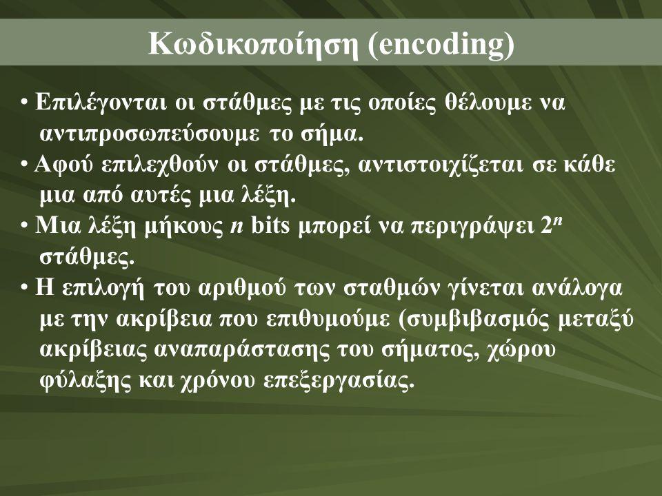 Κωδικοποίηση (encoding) Επιλέγονται οι στάθμες με τις οποίες θέλουμε να αντιπροσωπεύσουμε το σήμα.