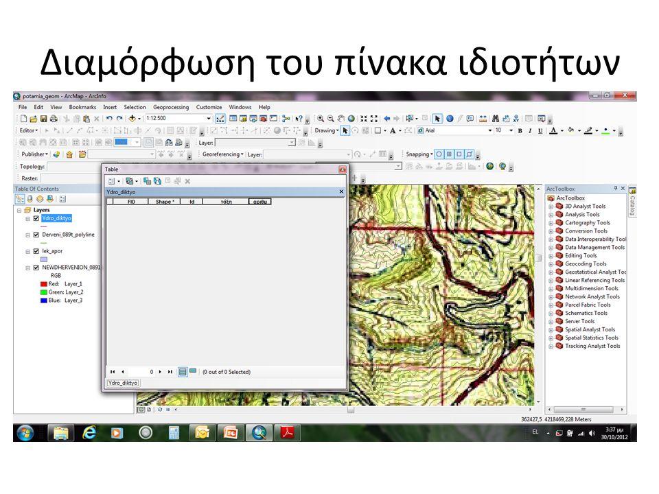 Το υδρογραφικό δίκτυο θα ψηφιοποιηθεί στο shape file που φτιάξαμε με όνομα ydro_diktyo Με δεξί κλικ ανοίγουμε το attribute table και από το options προσθέτουμε πεδία (add field) Το πρώτο πεδίο που θα προσθέσουμε θα είναι η τάξη (Ι, ΙΙ, ΙΙΙ κτλ ) με βάση την αρίθμηση κατά Strahler και θα είναι τύπος text Το δεύτερο πεδίο θα είναι η αρίθμηση του κάθε κλάδου (1,2,3 κτλ) και θα είναι ακέραιος αριθμός Διαμόρφωση του πίνακα ιδιοτήτων