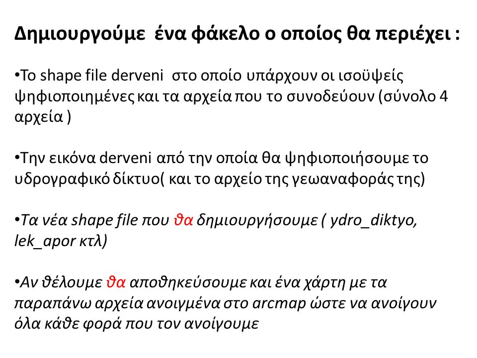 Δημιουργούμε ένα φάκελο ο οποίος θα περιέχει : Το shape file derveni στο οποίο υπάρχουν οι ισοϋψείς ψηφιοποιημένες και τα αρχεία που το συνοδεύουν (σύνολο 4 αρχεία ) Την εικόνα derveni από την οποία θα ψηφιοποιήσουμε το υδρογραφικό δίκτυο( και το αρχείο της γεωαναφοράς της) Τα νέα shape file που θα δημιουργήσουμε ( ydro_diktyo, lek_apor κτλ) Αν θέλουμε θα αποθηκεύσουμε και ένα χάρτη με τα παραπάνω αρχεία ανοιγμένα στο arcmap ώστε να ανοίγουν όλα κάθε φορά που τον ανοίγουμε