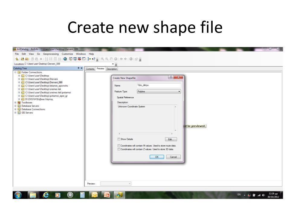 Ανοίγουμε το ArcCatalog Συνδεόμαστε με το φάκελο που φτιάξαμε ( file →connect folder) Δημιουργούμε το shape file (File→new→shape file) Όνομα Ydro_diktyo και τύπο Polyline αλλαγή συστήματος συντεταγμένων (edit→select→projected coordinate systems→national grids→Europe→Greek grid Create new shape file
