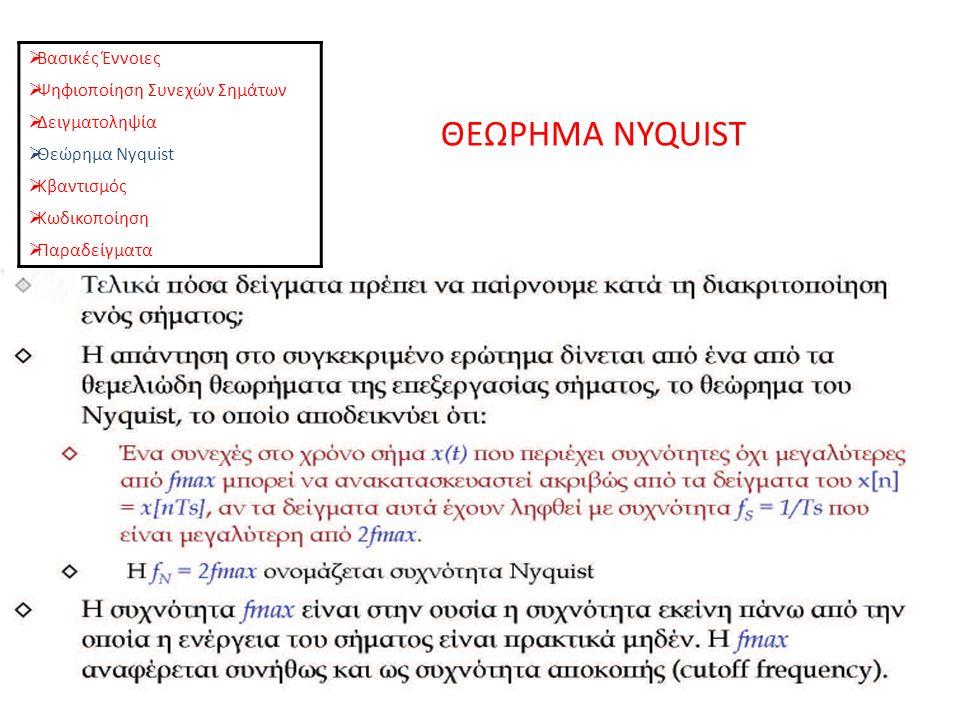 ΘΕΩΡΗΜΑ NYQUIST  Βασικές Έννοιες  Ψηφιοποίηση Συνεχών Σημάτων  Δειγματοληψία  Θεώρημα Nyquist  Κβαντισμός  Κωδικοποίηση  Παραδείγματα