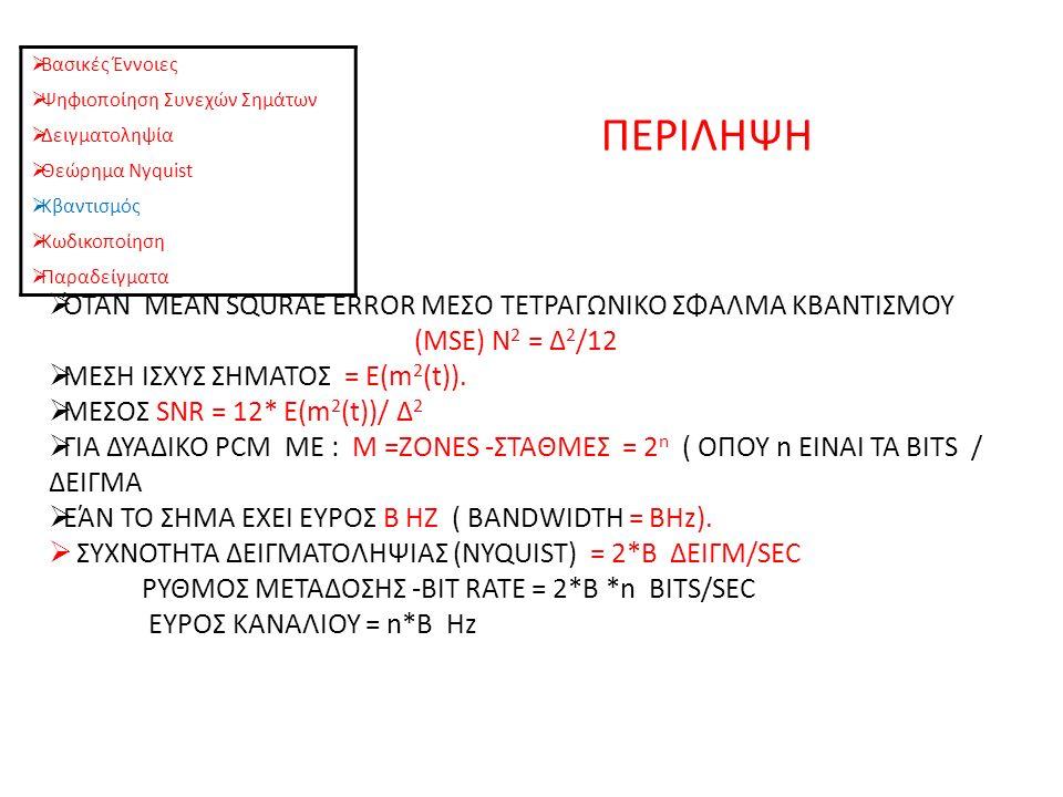 ΠΕΡΙΛΗΨΗ  Βασικές Έννοιες  Ψηφιοποίηση Συνεχών Σημάτων  Δειγματοληψία  Θεώρημα Nyquist  Κβαντισμός  Κωδικοποίηση  Παραδείγματα  ΌΤΑΝ MEAN SQURAE ERROR ΜΕΣΟ ΤΕΤΡΑΓΩΝΙΚΟ ΣΦΑΛΜΑ ΚΒΑΝΤΙΣΜΟΥ (MSE) Ν 2 = Δ 2 /12  ΜΕΣΗ ΙΣΧΥΣ ΣΗΜΑΤΟΣ = Ε(m 2 (t)).