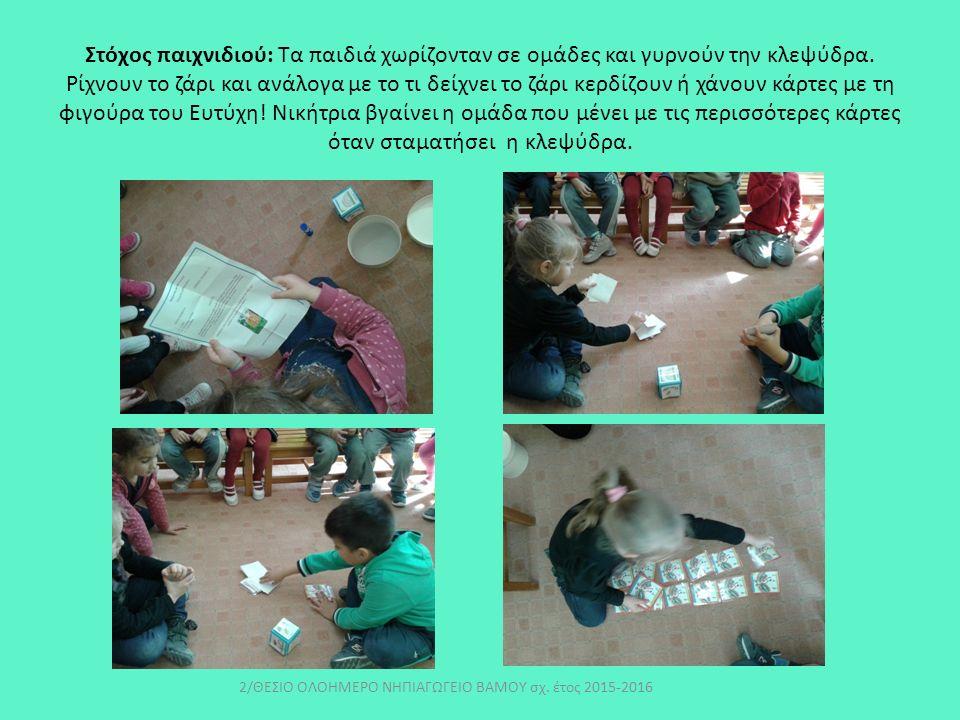 Στόχος παιχνιδιού: Τα παιδιά χωρίζονταν σε ομάδες και γυρνούν την κλεψύδρα.