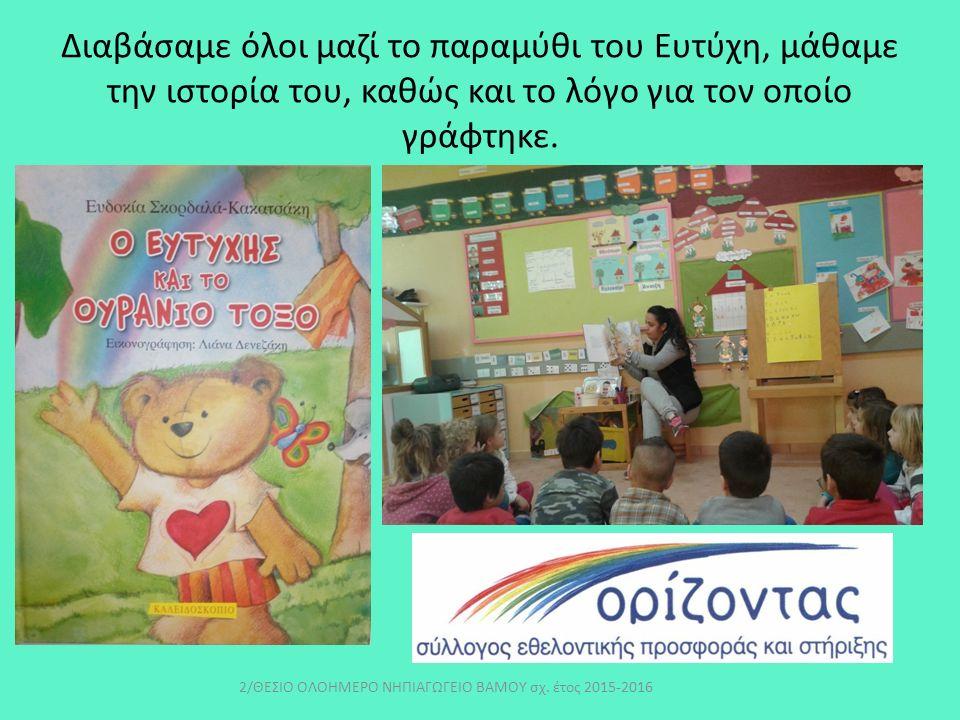 Διαβάσαμε όλοι μαζί το παραμύθι του Ευτύχη, μάθαμε την ιστορία του, καθώς και το λόγο για τον οποίο γράφτηκε.
