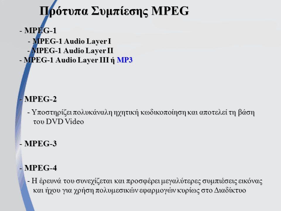 Συμπίεση αρχείου ήχου Συνήθως επιτυγχάνεται μέσω της απόρριψης πληροφοριών από ήχους με συχνότητες έξω από τα όρια του φάσματος των ακουστικών συχνοτήτων (20 Hz – 20.000 Hz) Πλάτος Συχνότητα Σήμα κυρίαρχου ήχου Περιοχή ήχων παραπλήσιας συχνότητας και χαμηλότερης έντασης που δεν γίνονται αντιληπτοί από το ανθρώπινο αυτί