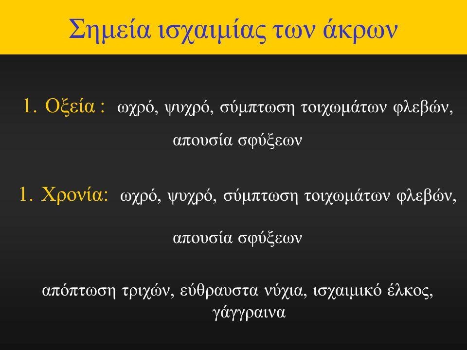 Σημεία ισχαιμίας των άκρων 1.Οξεία : ωχρό, ψυχρό, σύμπτωση τοιχωμάτων φλεβών, απουσία σφύξεων 1.Χρονία: ωχρό, ψυχρό, σύμπτωση τοιχωμάτων φλεβών, απουσία σφύξεων απόπτωση τριχών, εύθραυστα νύχια, ισχαιμικό έλκος, γάγγραινα