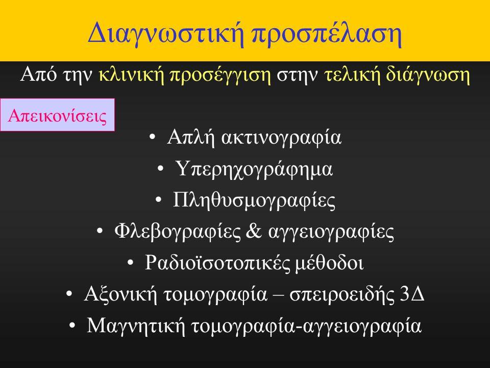 Διαγνωστική προσπέλαση Από την κλινική προσέγγιση στην τελική διάγνωση Απλή ακτινογραφία Υπερηχογράφημα Πληθυσμογραφίες Φλεβογραφίες & αγγειογραφίες Ραδιοϊσοτοπικές μέθοδοι Αξονική τομογραφία – σπειροειδής 3Δ Μαγνητική τομογραφία-αγγειογραφία Απεικονίσεις
