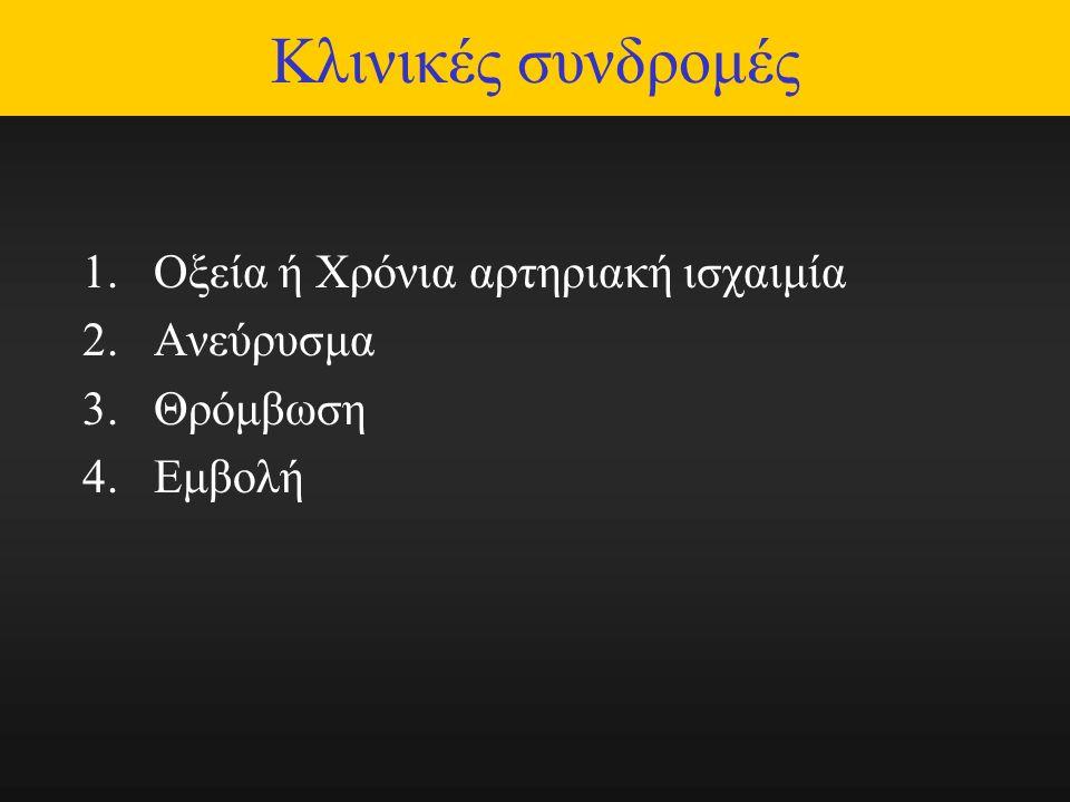 Κλινικές συνδρομές 1.Οξεία ή Χρόνια αρτηριακή ισχαιμία 2.Ανεύρυσμα 3.Θρόμβωση 4.Εμβολή