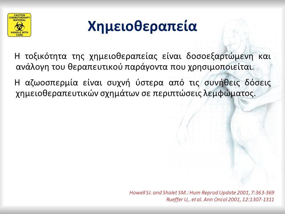 Χημειοθεραπεία Η τοξικότητα της χημειοθεραπείας είναι δοσοεξαρτώμενη και ανάλογη του θεραπευτικού παράγοντα που χρησιμοποιείται. Η αζωοσπερμία είναι σ