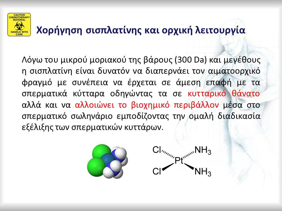 Λόγω του μικρού μοριακού της βάρους (300 Da) και μεγέθους η σισπλατίνη είναι δυνατόν να διαπερνάει τον αιματοορχικό φραγμό με συνέπεια να έρχεται σε ά
