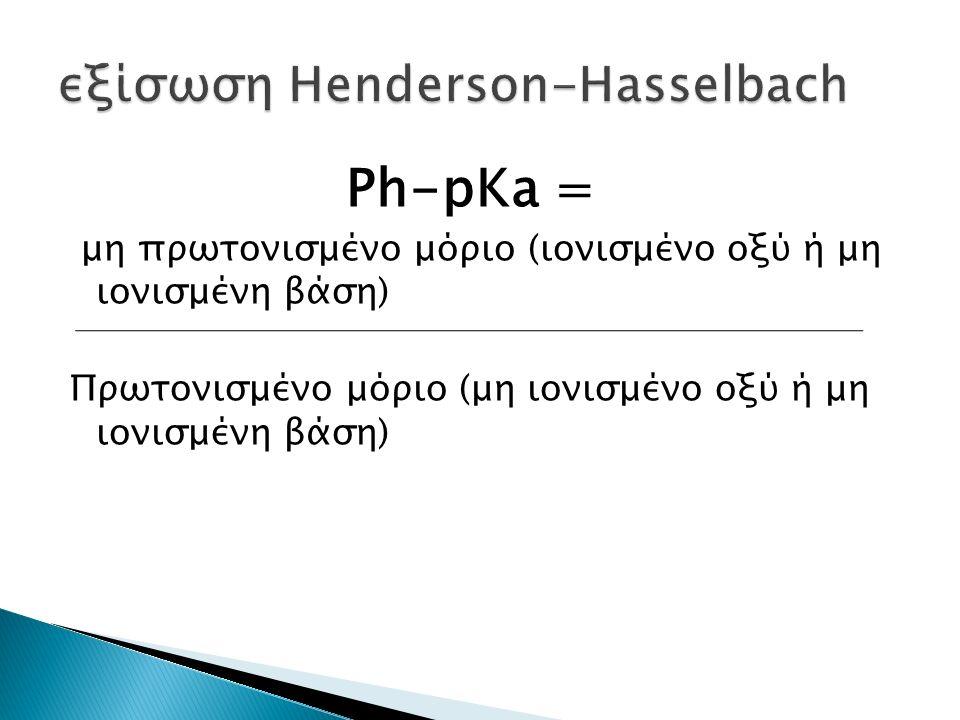Ph-pKa = μη πρωτονισμένο μόριο (ιονισμένο οξύ ή μη ιονισμένη βάση) Πρωτονισμένο μόριο (μη ιονισμένο οξύ ή μη ιονισμένη βάση)