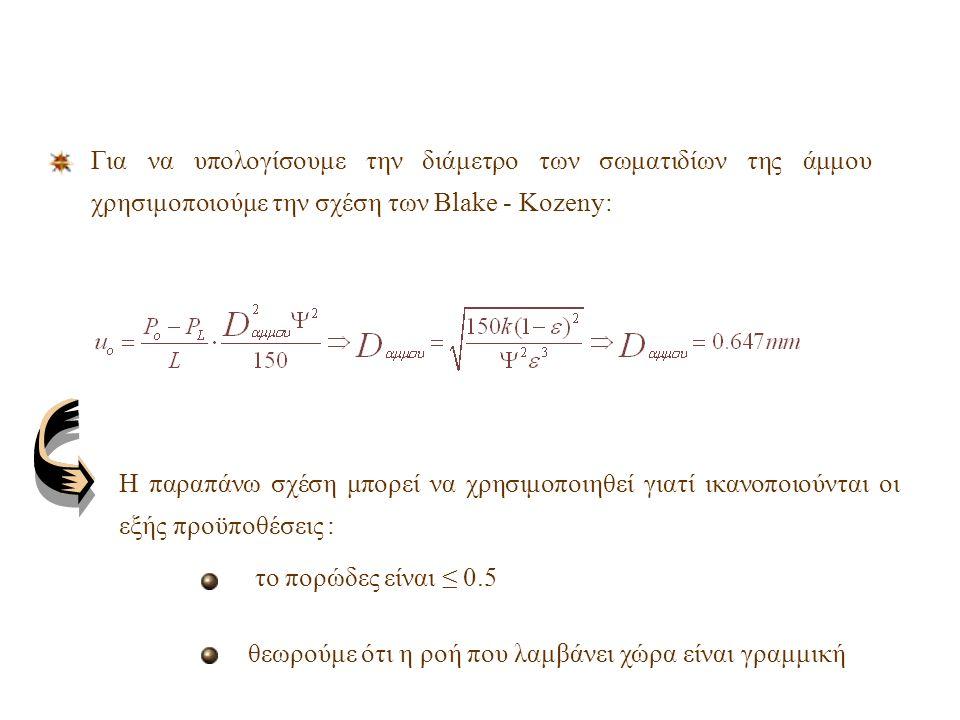 Εξίσωση Darcy : μ = 1mPa s L άμμου = 14.2 cm Υπολογίζουμε το πορώδες, ε, της κλίνης σύμφωνα με την σχέση: