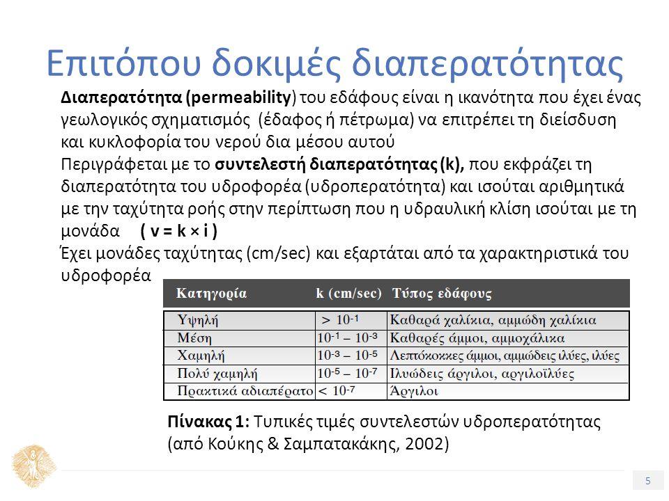 5 Επιτόπου δοκιμές διαπερατότητας Διαπερατότητα (permeability) του εδάφους είναι η ικανότητα που έχει ένας γεωλογικός σχηματισμός (έδαφος ή πέτρωμα) ν