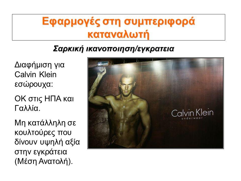 Εφαρμογές στη συμπεριφορά καταναλωτή Διαφήμιση για Calvin Klein εσώρουχα: OK στις ΗΠΑ και Γαλλία. Μη κατάλληλη σε κουλτούρες που δίνουν υψηλή αξία στη