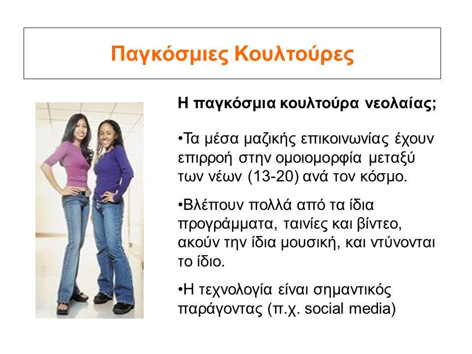 Παγκόσμιες Κουλτούρες Η παγκόσμια κουλτούρα νεολαίας; Τα μέσα μαζικής επικοινωνίας έχουν επιρροή στην ομοιομορφία μεταξύ των νέων (13-20) ανά τον κόσμο.