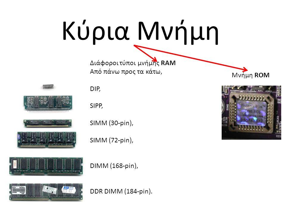 Κύρια Μνήμη Διάφοροι τύποι μνήμης RAM Από πάνω προς τα κάτω, DIP, SIPP, SIMM (30-pin), SIMM (72-pin), DIMM (168-pin), DDR DIMM (184-pin).