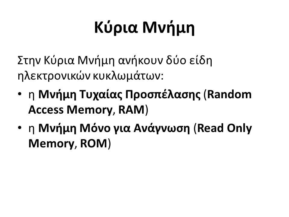 Κύρια Μνήμη Στην Κύρια Μνήμη ανήκουν δύο είδη ηλεκτρονικών κυκλωμάτων: η Μνήμη Τυχαίας Προσπέλασης (Random Access Memory, RAM) η Μνήμη Μόνο για Ανάγνωση (Read Only Memory, RΟM)