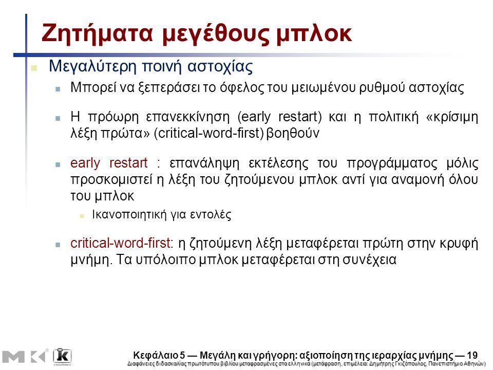 Διαφάνειες διδασκαλίας πρωτότυπου βιβλίου μεταφρασμένες στα ελληνικά (μετάφραση, επιμέλεια: Δημήτρης Γκιζόπουλος, Πανεπιστήμιο Αθηνών) Κεφάλαιο 5 — Μεγάλη και γρήγορη: αξιοποίηση της ιεραρχίας μνήμης — 19 Ζητήματα μεγέθους μπλοκ Μεγαλύτερη ποινή αστοχίας Μπορεί να ξεπεράσει το όφελος του μειωμένου ρυθμού αστοχίας Η πρόωρη επανεκκίνηση (early restart) και η πολιτική «κρίσιμη λέξη πρώτα» (critical-word-first) βοηθούν early restart : επανάληψη εκτέλεσης του προγράμματος μόλις προσκομιστεί η λέξη του ζητούμενου μπλοκ αντί για αναμονή όλου του μπλοκ Ικανοποιητική για εντολές critical-word-first: η ζητούμενη λέξη μεταφέρεται πρώτη στην κρυφή μνήμη.
