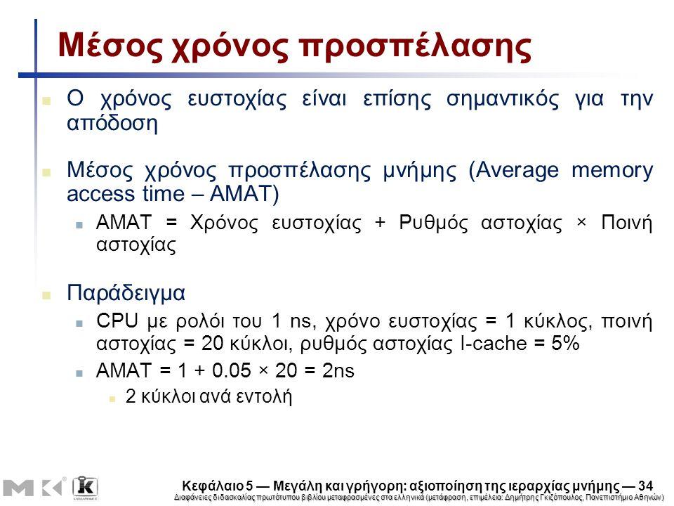 Διαφάνειες διδασκαλίας πρωτότυπου βιβλίου μεταφρασμένες στα ελληνικά (μετάφραση, επιμέλεια: Δημήτρης Γκιζόπουλος, Πανεπιστήμιο Αθηνών) Κεφάλαιο 5 — Μεγάλη και γρήγορη: αξιοποίηση της ιεραρχίας μνήμης — 34 Μέσος χρόνος προσπέλασης Ο χρόνος ευστοχίας είναι επίσης σημαντικός για την απόδοση Μέσος χρόνος προσπέλασης μνήμης (Average memory access time – AMAT) AMAT = Χρόνος ευστοχίας + Ρυθμός αστοχίας × Ποινή αστοχίας Παράδειγμα CPU με ρολόι του 1 ns, χρόνο ευστοχίας = 1 κύκλος, ποινή αστοχίας = 20 κύκλοι, ρυθμός αστοχίας I-cache = 5% AMAT = 1 + 0.05 × 20 = 2ns 2 κύκλοι ανά εντολή