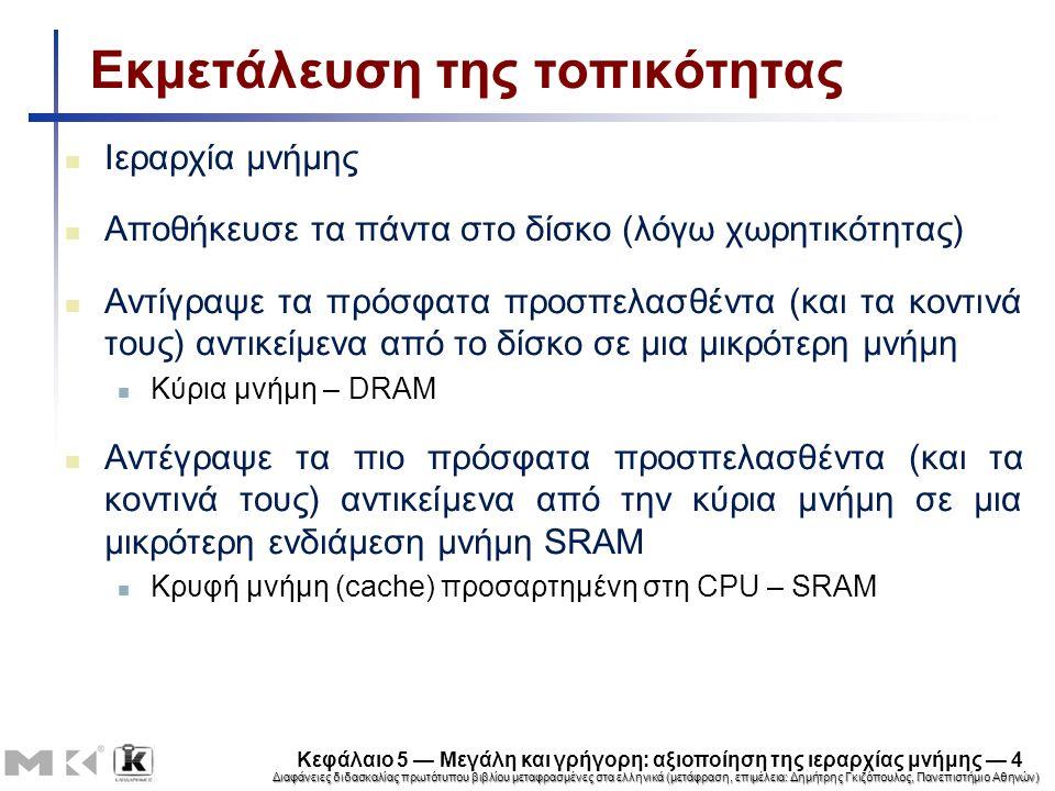 Διαφάνειες διδασκαλίας πρωτότυπου βιβλίου μεταφρασμένες στα ελληνικά (μετάφραση, επιμέλεια: Δημήτρης Γκιζόπουλος, Πανεπιστήμιο Αθηνών) Κεφάλαιο 5 — Μεγάλη και γρήγορη: αξιοποίηση της ιεραρχίας μνήμης — 4 Εκμετάλευση της τοπικότητας Ιεραρχία μνήμης Αποθήκευσε τα πάντα στο δίσκο (λόγω χωρητικότητας) Αντίγραψε τα πρόσφατα προσπελασθέντα (και τα κοντινά τους) αντικείμενα από το δίσκο σε μια μικρότερη μνήμη Κύρια μνήμη – DRAM Αντέγραψε τα πιο πρόσφατα προσπελασθέντα (και τα κοντινά τους) αντικείμενα από την κύρια μνήμη σε μια μικρότερη ενδιάμεση μνήμη SRAM Κρυφή μνήμη (cache) προσαρτημένη στη CPU – SRAM