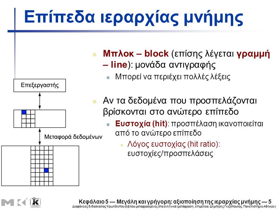 Διαφάνειες διδασκαλίας πρωτότυπου βιβλίου μεταφρασμένες στα ελληνικά (μετάφραση, επιμέλεια: Δημήτρης Γκιζόπουλος, Πανεπιστήμιο Αθηνών) Κεφάλαιο 5 — Μεγάλη και γρήγορη: αξιοποίηση της ιεραρχίας μνήμης — 6 Επίπεδα ιεραρχίας μνήμης Αν τα δεδομένα που προσπελάζονται απουσιάζουν Αστοχία (miss): το μπλοκ αντιγράφεται από το χαμηλότερο επίπεδο Απαιτούμενος χρόνος: ποινή αστοχίας (miss penalty) Λόγος αστοχίας (miss ratio): αστοχίες/προσπελάσεις = 1 – λόγος ευστοχίας Στη συνέχεια τα δεδομένα που προσπελάζονται παρέχονται από το ανώτερο επίπεδο