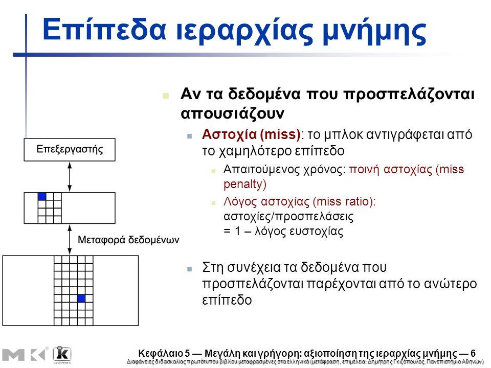 Διαφάνειες διδασκαλίας πρωτότυπου βιβλίου μεταφρασμένες στα ελληνικά (μετάφραση, επιμέλεια: Δημήτρης Γκιζόπουλος, Πανεπιστήμιο Αθηνών) Κεφάλαιο 5 — Μεγάλη και γρήγορη: αξιοποίηση της ιεραρχίας μνήμης — 17 Παράδειγμα: μεγαλύτερο μέγεθος μπλοκ 64 μπλοκ, 16 byte/μπλοκ Σε ποιο αριθμό μπλοκ απεικονίζεται η διεύθυνση 1200; Διεύθυνση μπλοκ =  1200/16  = 75 Αριθμός μπλοκ = 75 modulo 64 = 11 03491031 4 bit6 bit22 bit Σχετική απόσταση ΑριθμοδείκτηςΕτικέτα