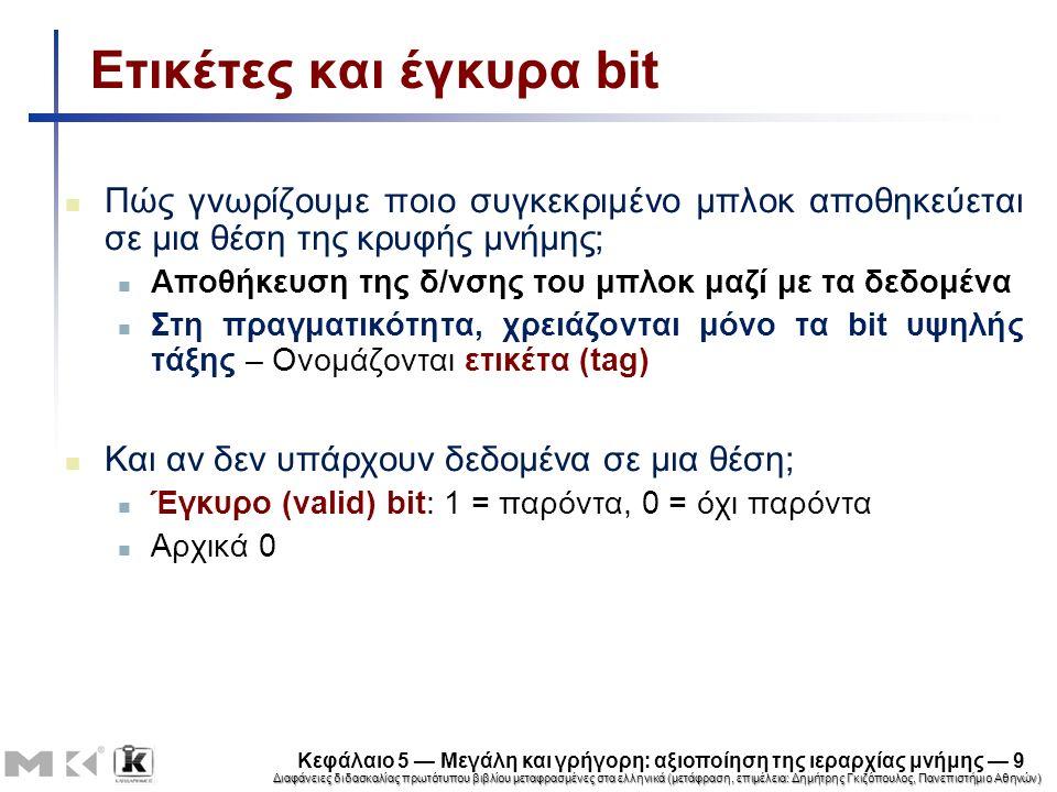 Διαφάνειες διδασκαλίας πρωτότυπου βιβλίου μεταφρασμένες στα ελληνικά (μετάφραση, επιμέλεια: Δημήτρης Γκιζόπουλος, Πανεπιστήμιο Αθηνών) Κεφάλαιο 5 — Μεγάλη και γρήγορη: αξιοποίηση της ιεραρχίας μνήμης — 20 Αστοχίες κρυφής μνήμης Σε περίπτωσης ευστοχίας, η CPU συνεχίζει κανονικά Σε περίπτωση αστοχίας Καθυστερεί η διοχέτευση της CPU Προσκομίζει το μπλοκ από το επόμενο επίπεδο της ιεραρχίας Αστοχία κρυφής μνήμης εντολών Επανεκκίνηση προσκόμισης εντολής Αστοχία κρυφής μνήμης δεδομένων Ολοκλήρωση προσπέλασης δεδομένων