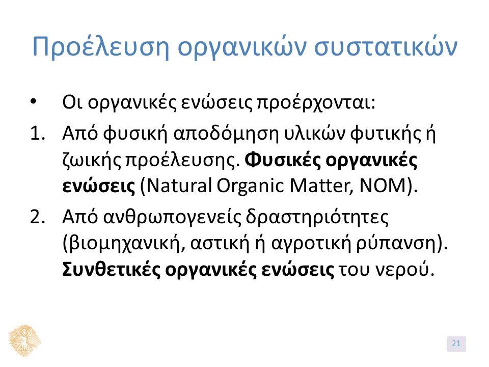 Προέλευση οργανικών συστατικών Οι οργανικές ενώσεις προέρχονται: 1.Από φυσική αποδόμηση υλικών φυτικής ή ζωικής προέλευσης. Φυσικές οργανικές ενώσεις