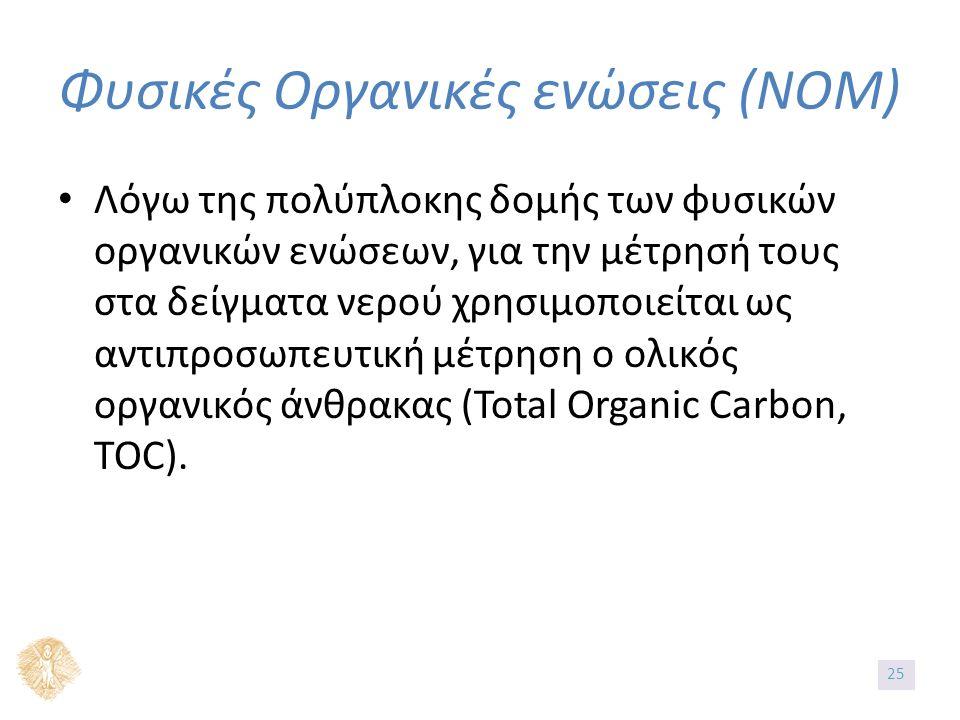 Λόγω της πολύπλοκης δομής των φυσικών οργανικών ενώσεων, για την μέτρησή τους στα δείγματα νερού χρησιμοποιείται ως αντιπροσωπευτική μέτρηση ο ολικός οργανικός άνθρακας (Total Organic Carbon, TOC).