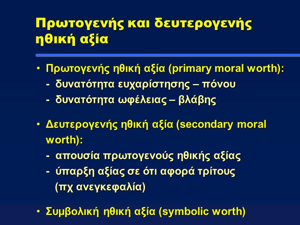 Πρωτογενής και δευτερογενής ηθική αξία Πρωτογενής ηθική αξία (primary moral worth): - δυνατότητα ευχαρίστησης – πόνου - δυνατότητα ωφέλειας – βλάβηςΠρωτογενής ηθική αξία (primary moral worth): - δυνατότητα ευχαρίστησης – πόνου - δυνατότητα ωφέλειας – βλάβης Δευτερογενής ηθική αξία (secondary moral worth): - απουσία πρωτογενούς ηθικής αξίας - ύπαρξη αξίας σε ότι αφορά τρίτους (πχ ανεγκεφαλία)Δευτερογενής ηθική αξία (secondary moral worth): - απουσία πρωτογενούς ηθικής αξίας - ύπαρξη αξίας σε ότι αφορά τρίτους (πχ ανεγκεφαλία) Συμβολική ηθική αξία (symbolic worth)Συμβολική ηθική αξία (symbolic worth)