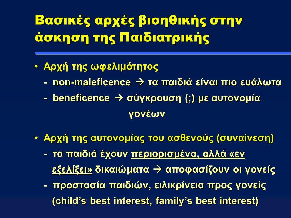 Βασικές αρχές βιοηθικής στην άσκηση της Παιδιατρικής Αρχή της ωφελιμότητος - non-maleficence  τα παιδιά είναι πιο ευάλωτα - beneficence  σύγκρουση (;) με αυτονομία γονέωνΑρχή της ωφελιμότητος - non-maleficence  τα παιδιά είναι πιο ευάλωτα - beneficence  σύγκρουση (;) με αυτονομία γονέων Αρχή της αυτονομίας του ασθενούς (συναίνεση) - τα παιδιά έχουν περιορισμένα, αλλά «εν εξελίξει» δικαιώματα  αποφασίζουν οι γονείς - προστασία παιδιών, ειλικρίνεια προς γονείς (child's best interest, family's best interest)Αρχή της αυτονομίας του ασθενούς (συναίνεση) - τα παιδιά έχουν περιορισμένα, αλλά «εν εξελίξει» δικαιώματα  αποφασίζουν οι γονείς - προστασία παιδιών, ειλικρίνεια προς γονείς (child's best interest, family's best interest)