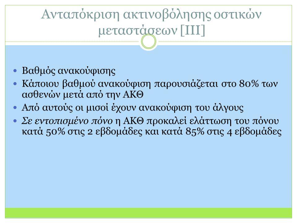 Ανταπόκριση ακτινοβόλησης οστικών μεταστάσεων [ΙΙΙ] Βαθμός ανακούφισης Κάποιου βαθμού ανακούφιση παρουσιάζεται στο 80% των ασθενών μετά από την ΑΚΘ Από αυτούς οι μισοί έχουν ανακούφιση του άλγους Σε εντοπισμένο πόνο η ΑΚΘ προκαλεί ελάττωση του πόνου κατά 50% στις 2 εβδομάδες και κατά 85% στις 4 εβδομάδες