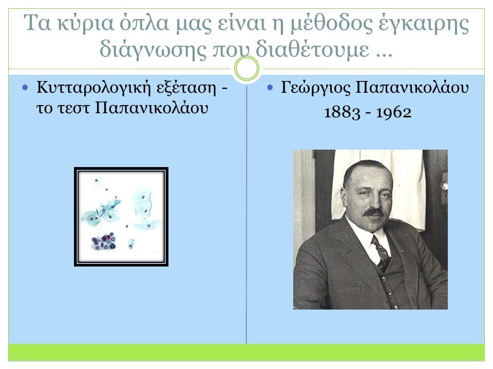 Τα κύρια όπλα μας είναι η μέθοδος έγκαιρης διάγνωσης που διαθέτουμε … Κυτταρολογική εξέταση - το τεστ Παπανικολάου Γεώργιος Παπανικολάου 1883 - 1962