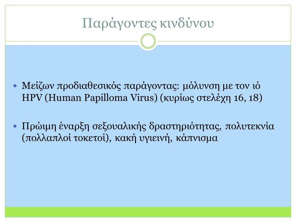 Παράγοντες κινδύνου Μείζων προδιαθεσικός παράγοντας: μόλυνση με τον ιό HPV (Human Papilloma Virus) (κυρίως στελέχη 16, 18) Πρώιμη έναρξη σεξουαλικής δραστηριότητας, πολυτεκνία (πολλαπλοί τοκετοί), κακή υγιεινή, κάπνισμα