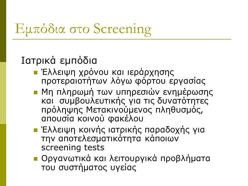 Εμπόδια στο Screening Ιατρικά εμπόδια Έλλειψη χρόνου και ιεράρχησης προτεραιοτήτων λόγω φόρτου εργασίας Μη πληρωμή των υπηρεσιών ενημέρωσης και συμβουλευτικής για τις δυνατότητες πρόληψης Μετακινούμενος πληθυσμός, απουσία κοινού φακέλου Έλλειψη κοινής ιατρικής παραδοχής για την αποτελεσματικότητα κάποιων screening tests Οργανωτικά και λειτουργικά προβλήματα του συστήματος υγείας