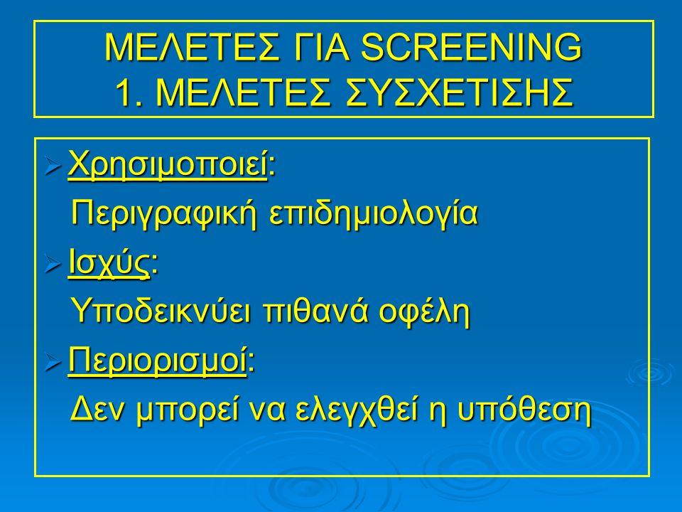 ΜΕΛΕΤΕΣ ΓΙΑ SCREENING 1.