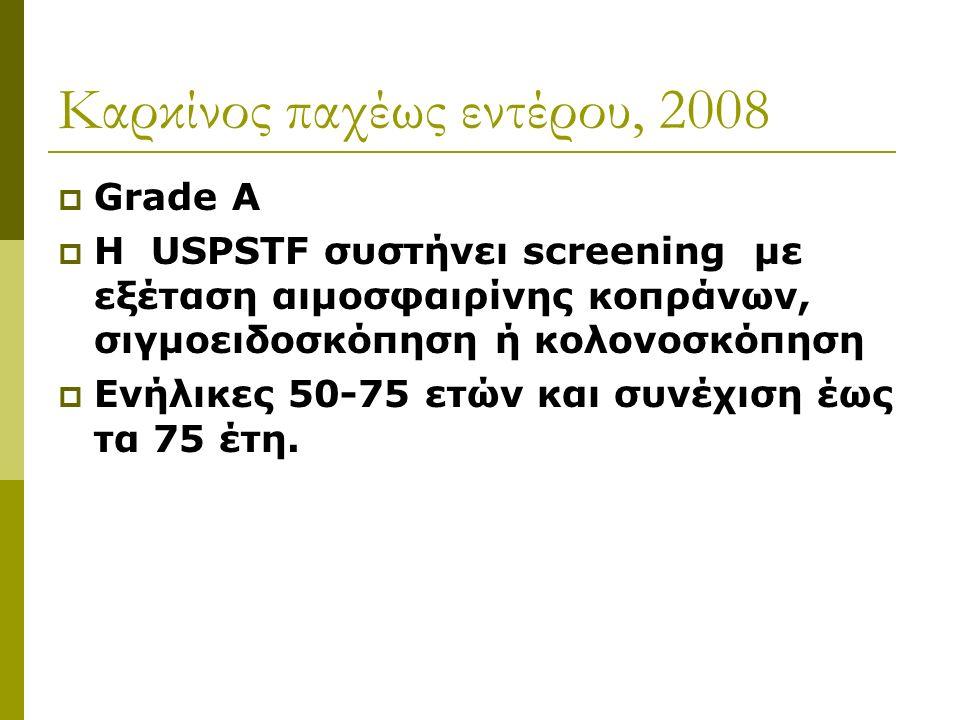 Kαρκίνος παχέως εντέρου, 2008  Grade A  H USPSTF συστήνει screening με εξέταση αιμοσφαιρίνης κοπράνων, σιγμοειδοσκόπηση ή κολονοσκόπηση  Eνήλικες 50-75 ετών και συνέχιση έως τα 75 έτη.