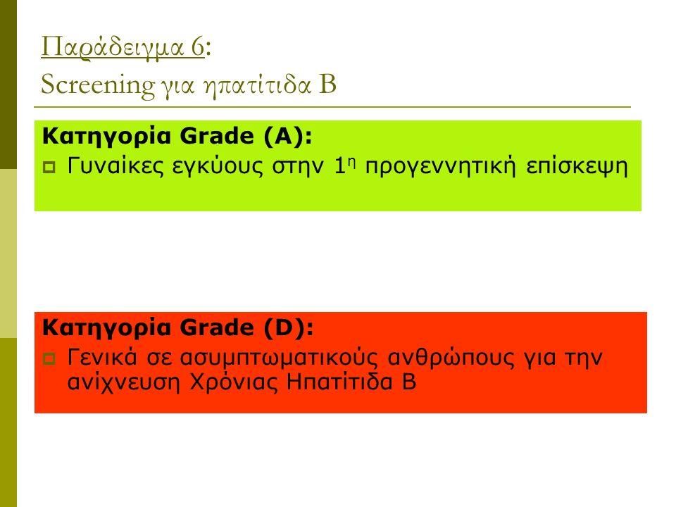 Παράδειγμα 6 : Screening για ηπατίτιδα Β Κατηγορία Grade (A):  Γυναίκες εγκύους στην 1 η προγεννητική επίσκεψη Κατηγορία Grade (D):  Γενικά σε ασυμπτωματικούς ανθρώπους για την ανίχνευση Χρόνιας Ηπατίτιδα Β