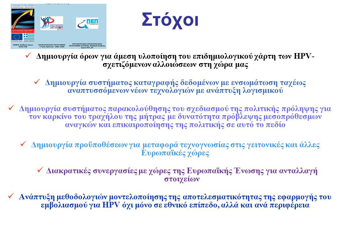 Στόχοι Δημιουργία όρων για άμεση υλοποίηση του επιδημιολογικού χάρτη των HPV- σχετιζόμενων αλλοιώσεων στη χώρα μας Δημιουργία συστήματος καταγραφής δε