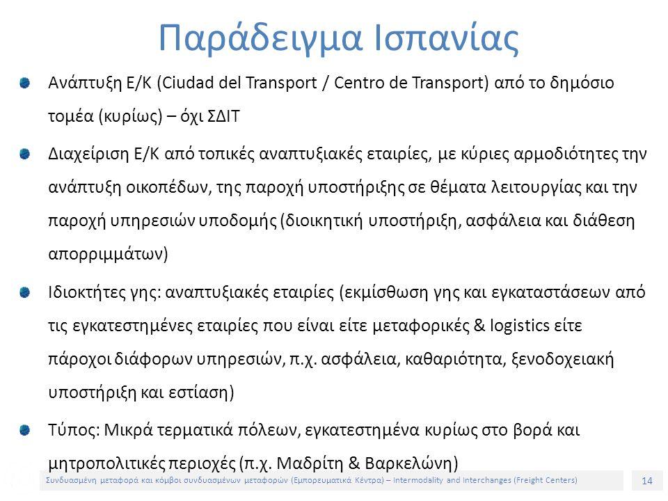 14 Συνδυασμένη μεταφορά και κόμβοι συνδυασμένων μεταφορών (Εμπορευματικά Κέντρα) – Intermodality and Interchanges (Freight Centers) Ανάπτυξη Ε/Κ (Ciudad del Transport / Centro de Transport) από το δημόσιο τομέα (κυρίως) – όχι ΣΔΙΤ Διαχείριση Ε/Κ από τοπικές αναπτυξιακές εταιρίες, με κύριες αρμοδιότητες την ανάπτυξη οικοπέδων, της παροχή υποστήριξης σε θέματα λειτουργίας και την παροχή υπηρεσιών υποδομής (διοικητική υποστήριξη, ασφάλεια και διάθεση απορριμμάτων) Ιδιοκτήτες γης: αναπτυξιακές εταιρίες (εκμίσθωση γης και εγκαταστάσεων από τις εγκατεστημένες εταιρίες που είναι είτε μεταφορικές & logistics είτε πάροχοι διάφορων υπηρεσιών, π.χ.